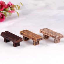 1 pc Long Wood Bench Miniature Figurine Fairy Garden Accessories Doll House Decoration Cartoon Animal Models Plastic Girl Toy