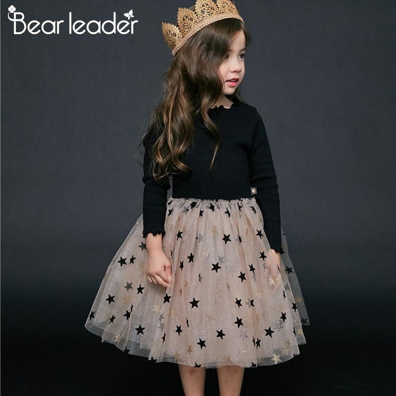 Bear Leader Girl Dress 2019 Autumn Winter Star Dress Sweatshirt Girl Fashion Long Sleeve Dress Toddler Girl Dresses 2-6years