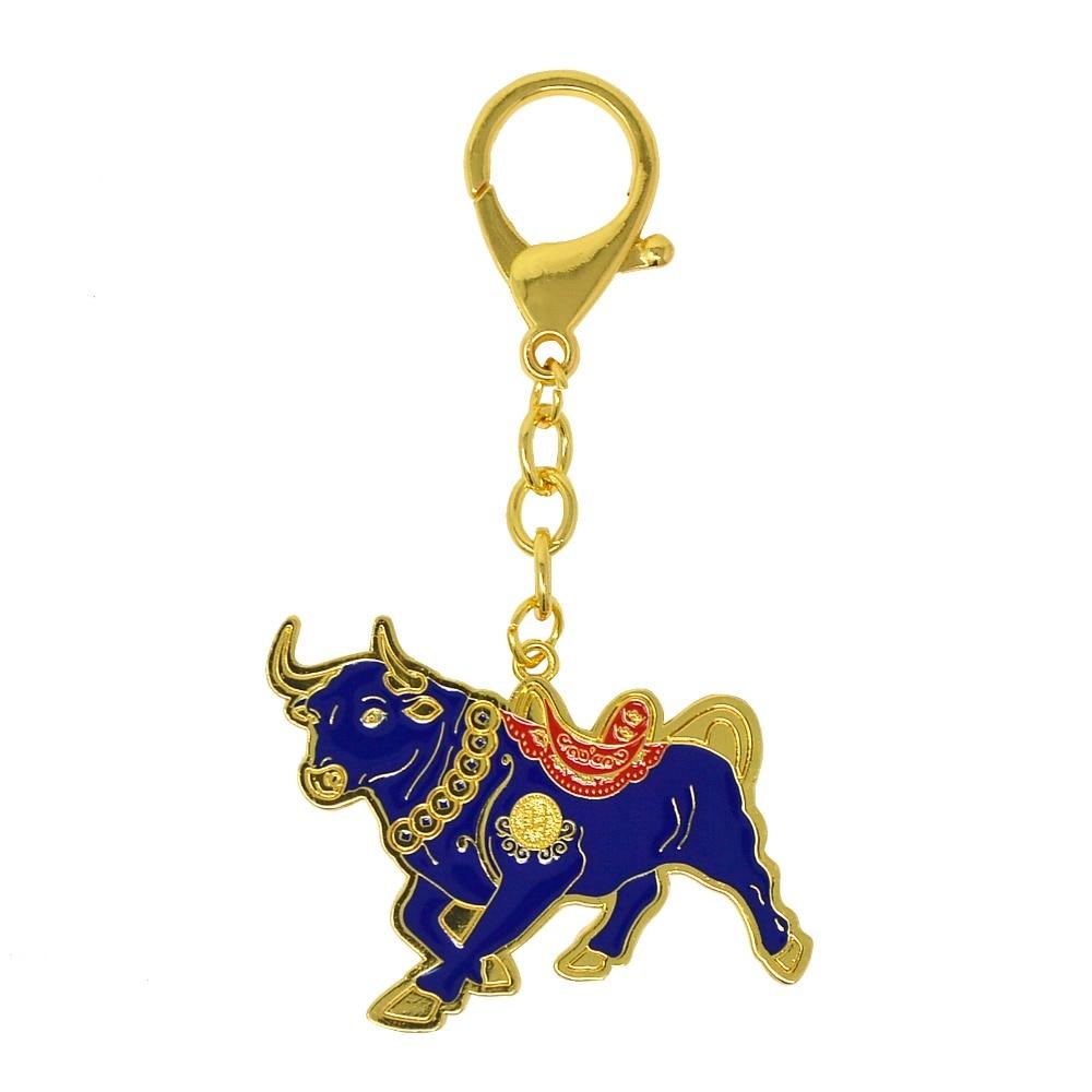 Zodiac Ox Keychain Pendant Vintage Lucky Bull Keychain Charm Chinese Dec YM6K
