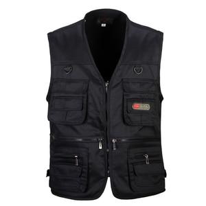Image 3 - Men Cotton Multi Pocket Vest Summer New Male Casual Thin Sleeveless Jacket With Many Pockets Mens Photographer Baggy Waistcoat