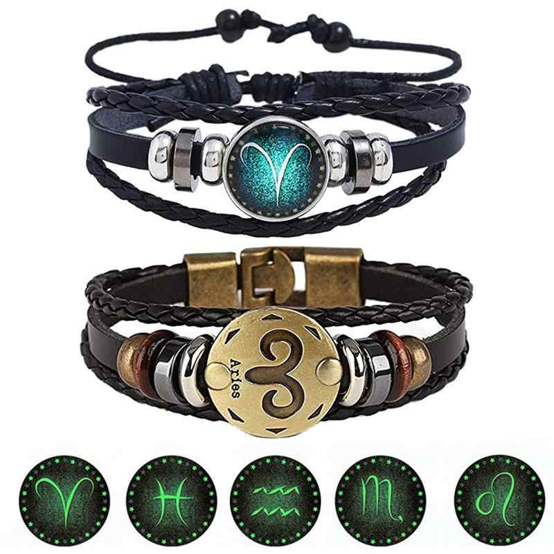 2 sztuk/zestaw 12 konstelacji bransoletki Luminous Charm bransoletka skórzana zodiak horoskop pleciona bransoletka mężczyźni kobiety biżuteria Wrist prezent