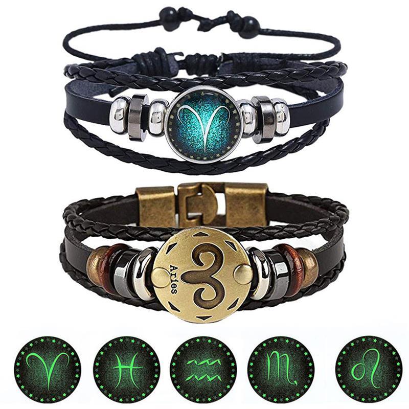 2pcs/set 12 Constellation Bracelets Luminous Charm Leather Bracelet Zodiac Horoscope Braided Bangle Men Women Jewelry Wrist Gift 1