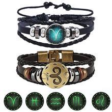 2pcs/set 12 Constellation Leather Bracelet Luminous Punk Horoscope Braided Bangle for Men Women New Jewelry Accessories
