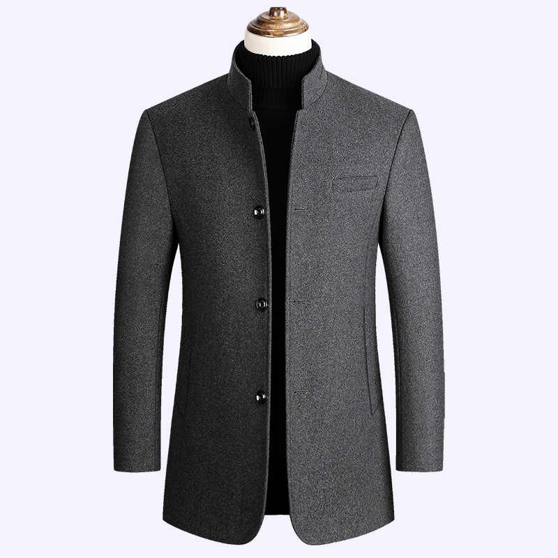 2019 winter new style men's slim woolen coat luxury high quality thick warm single-breasted stand collar business casual coat