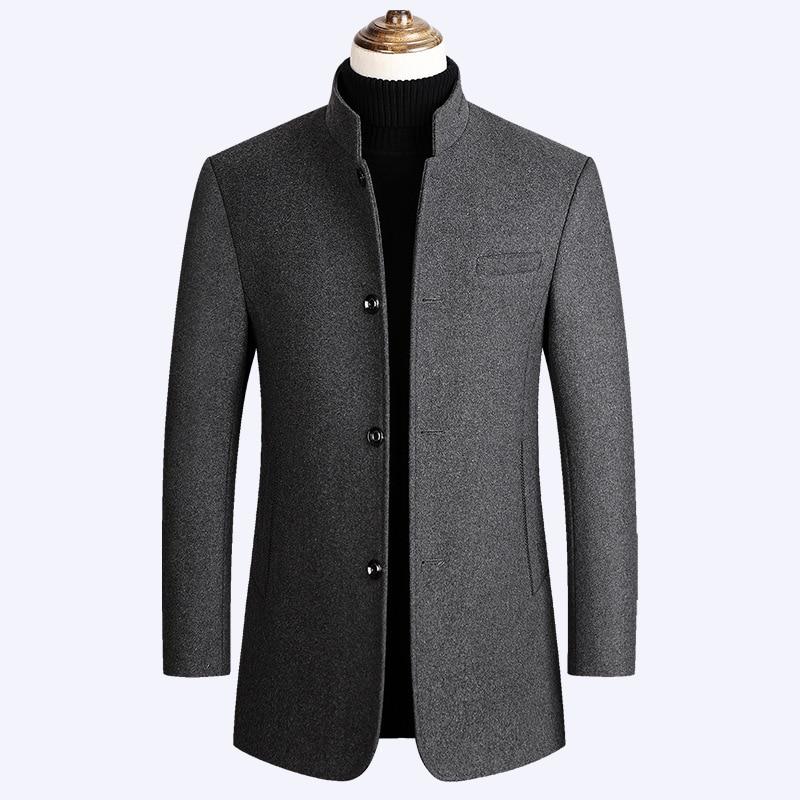 2019 ฤดูหนาวผู้ชายสไตล์ใหม่ slim เสื้อขนสัตว์คุณภาพสูงหนา single breasted stand collar ธุรกิจ casual coat-ใน ขนสัตว์และขนสัตว์ผสม จาก เสื้อผ้าผู้ชาย บน AliExpress - 11.11_สิบเอ็ด สิบเอ็ดวันคนโสด 1