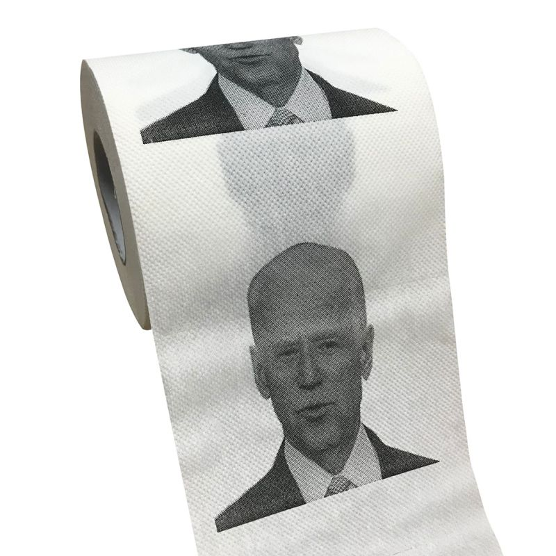 Pretty Comy Joe Biden Printed Toilet Paper 10 * 10CM Each, 250 Sheets 2 Layers Toilet Paper Roll