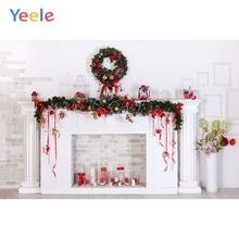 Yeele Christmas Tree White Brick Wall Fireplace Backdrop Baby Portrait Vinyl Photography Background For Photo Studio Photophone