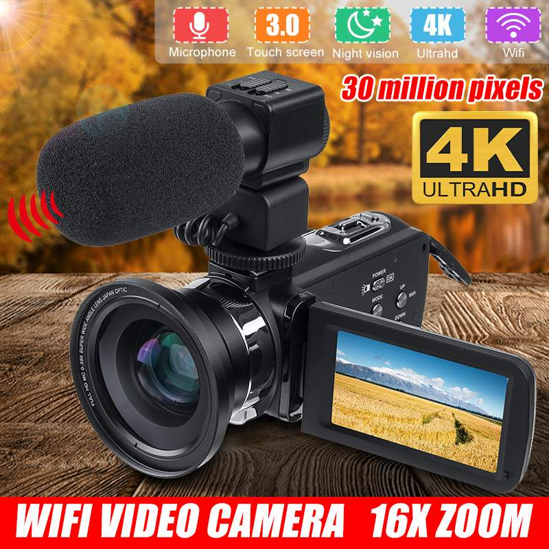 4k Wifi Full Hd Camcorder Video Camera Night Vision 3.0 Inch Lcd Touch Screen 16x Digital Zoom Camera With Microphone Lens
