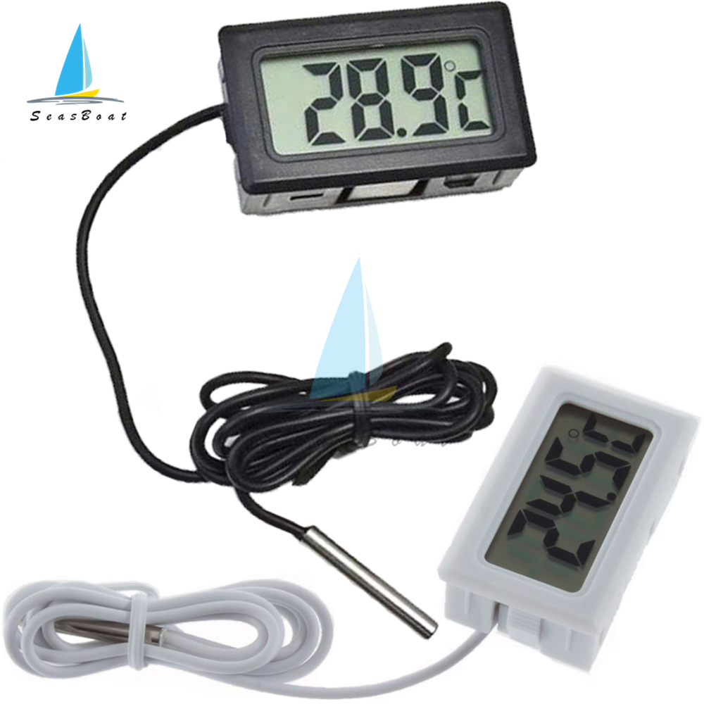Цифровой мини-термометр с ЖК-дисплеем для морозильной камеры, холодильника, холодильника, аквариума, термометр, измеритель температуры-50 ~ ...
