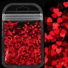 Holográfico doce amor coração prego glitter flocos brilhando lantejoulas para a arte do prego paillette manicure 3d diy decorações da arte do prego