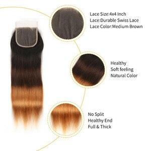Image 5 - Alimice ハイライトヘア T1B/4/30 オンブルストレートヘアの束でペルー人毛閉鎖とバンドルを編む 3 トーン