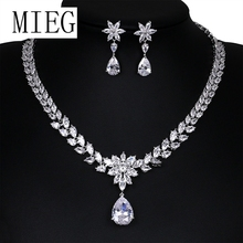 MIEG Brand Wedding Jewelry Set for Bride or Bridesmaid with Teardrop and Flower Cubic Zirconia Crystal