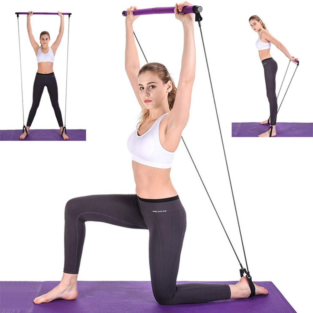 Multi-functional Portable Pilates Bar Yoga Gym Stick For Fitness Workout Stretch Twisting Sit-Up Bar