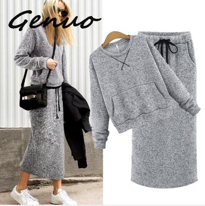 Genuo New Two Piece Set Women Cashmere Hoodie Tops Pockets Gray Casual Calf-Length Skirt Lace Up Maxi Dress Suit Female Outwear