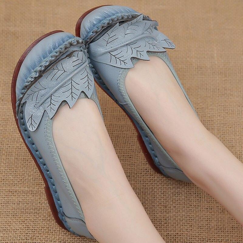 Maman mocassins en cuir 2021 Oxford chaussures plates en cuir véritable femmes chaussures plates design feuille chaussures pour femmes confort mocassins plats