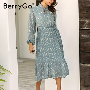 Image 2 - BerryGo Elegant floral print dress women Spring summer long sleeve dress female Tie neck pleated holiday long dress vestidos