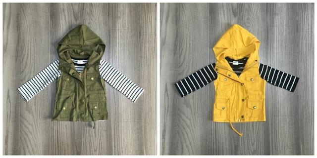 fall/winter baby girls cotton long sleeve top t shirt mustard olive vests and stripe tops hoodie raglans children clothes coat