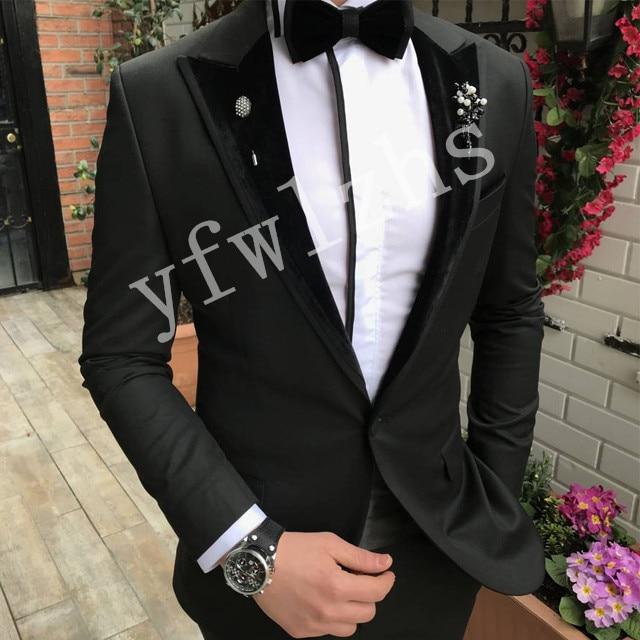 Handsome Groomsmen Peak Lapel Groom Tuxedos Mens Wedding Dress Man Jacket Blazer Prom Dinner (Jacket+Pants+Tie) A086