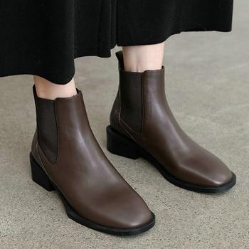 EshtonShero invierno mujeres tobillo botas tacones bajo