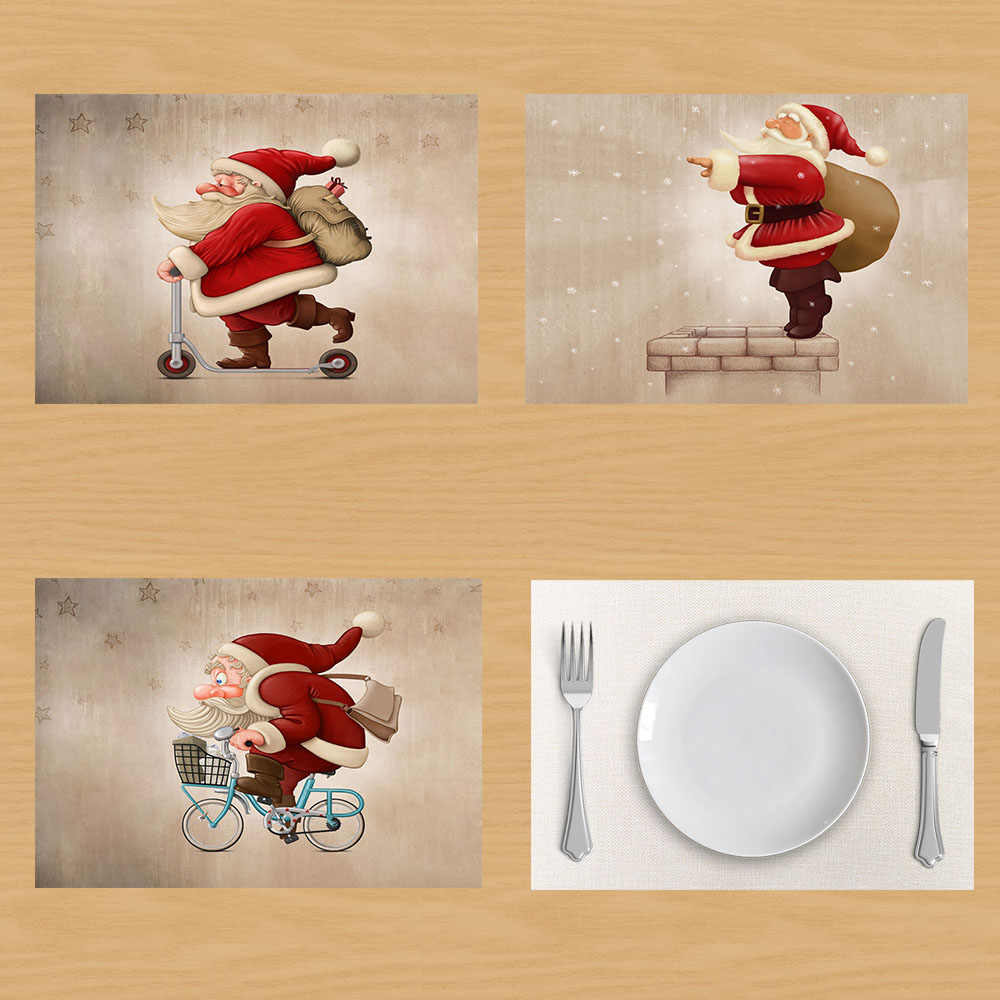 Merry Christmas Santa Claus Table Napkin Creative Christmas Decoration Santa Claus Linen Table Mat Napkins Placemat onderzetters