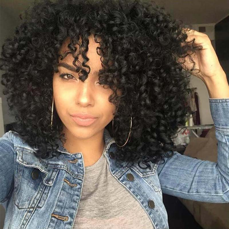 Afro Kinky Curly Wig With Bangs 13x4 13x6 Bob Lace Front Human Hair Wigs For Women Glueless Curly 360 Lace Frontal Wig Remy 180%