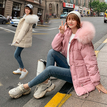 Women Winter coat 2019 Casual Thick Warm Big fur hooded parkas coat Solid winter Pink jacket female outwear coat