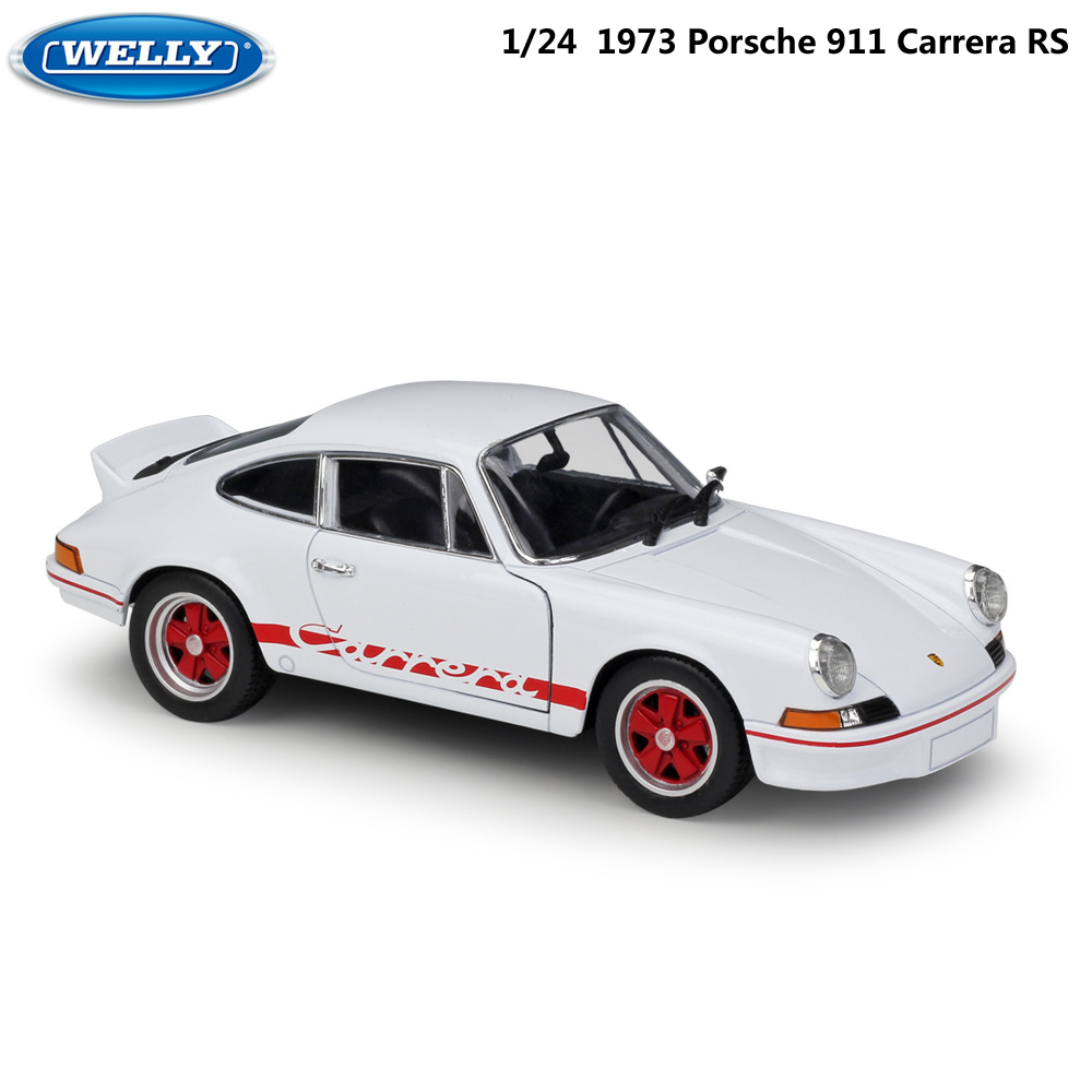 WELLY Diecast 1:24 Scale Model Car 1973 Porsche 911 Carrera RS Classic Metal Alloy Toy Car Sports Car For Kids Gift Collection