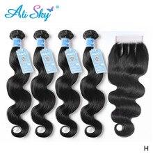 Ali sky mechones de pelo peruano con cierre, cabello humano ondulado, 100%, cierre de encaje con mechones, venta al por mayor