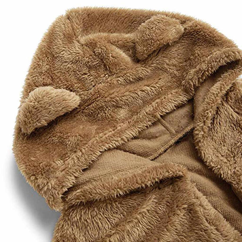 여자 아우터 겨울 코트 자 켓 패션 후드 긴 소매 곰 귀 테 디 후드 양 털 스웨터 카디 건 코트 f40