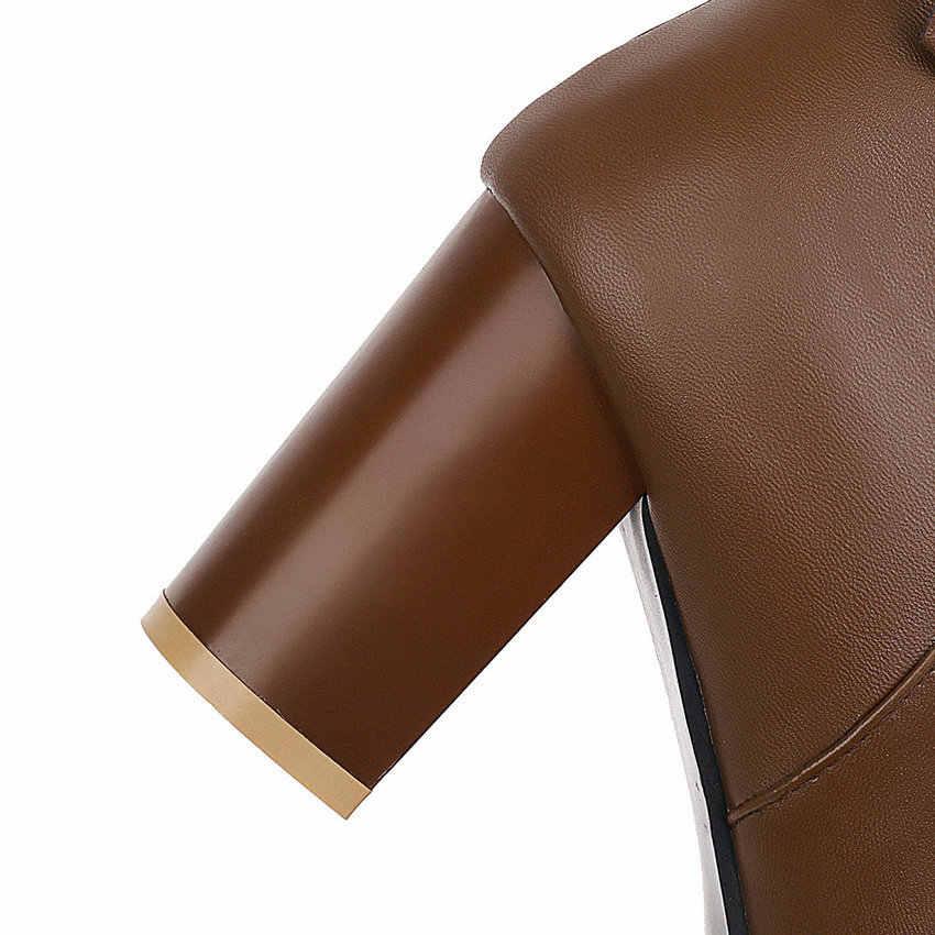 ESVEVA 2020 yeni sonbahar kış PU deri kare ayak kadın ayakkabı moda kare yüksek topuk fermuar diz çizmeler üzerinde boyutu 34-43