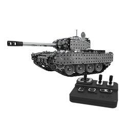 952 pçs 2.4g rc tanque militar conjunto de montagem diy aço inoxidável modelo de controle remoto brinquedo embutido 3.7v 300mah bateria de lítio
