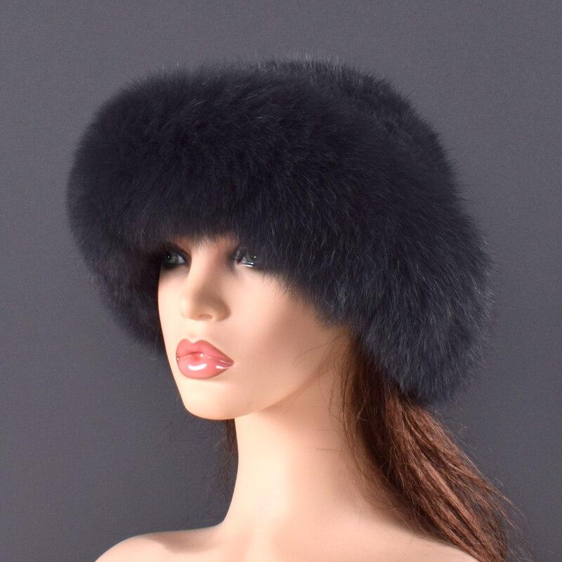 Gorros de piel de visón Real para mujer, sombreros de invierno de piel de zorro auténtica, sombrero de invierno de calidad de lujo, elástico, suave y esponjoso natural sombrero de piel - 3