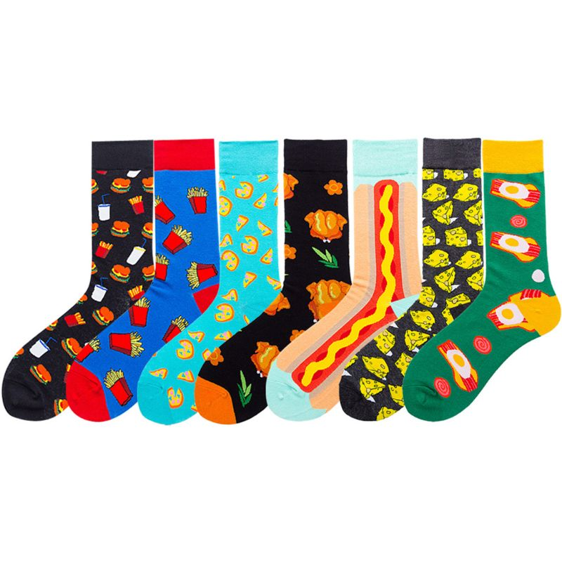 Mens Autumn Funny Colorful Dress Socks Cute Cartoon Hamburger Chips Turkey Pizza Cheese Hot Dog Foods Printed Harajuku Hosiery