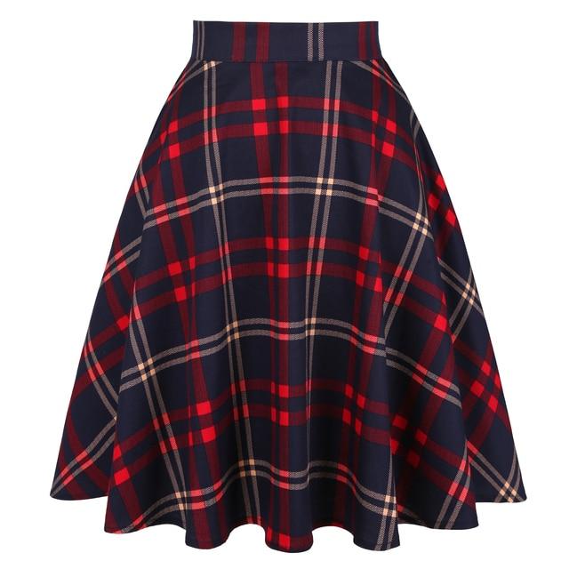 Checkered Cotton Skirts Womens Midi High Waist Pin up Hepburn Retro Vintage Swing Skirts 50s 60s Rockabilly Plaid Jurken Skater 2