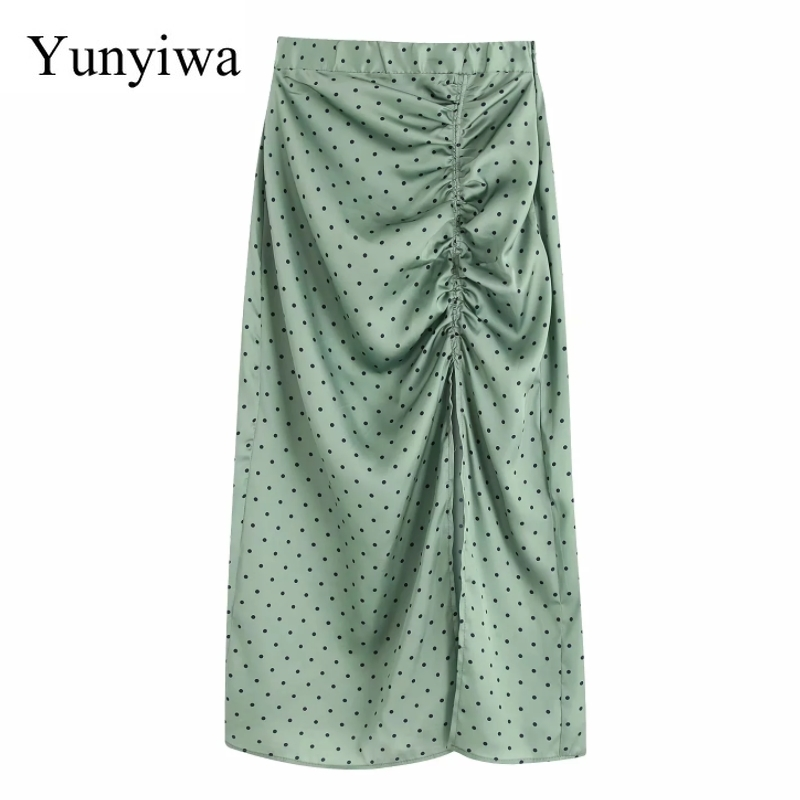 Women Vintage Polka Dot Printing Pleated Drawstring Split Midi Skirt Faldas Mujer Ladies Side Zipper Chic Slimming Skirts