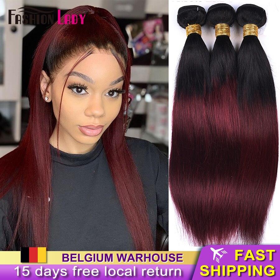 Senhora da forma pré-colorido extensões do cabelo brasileiro feixes de cabelo humano em linha reta t1b/99j ombre feixes de cabelo 3/4 pacotes não remy