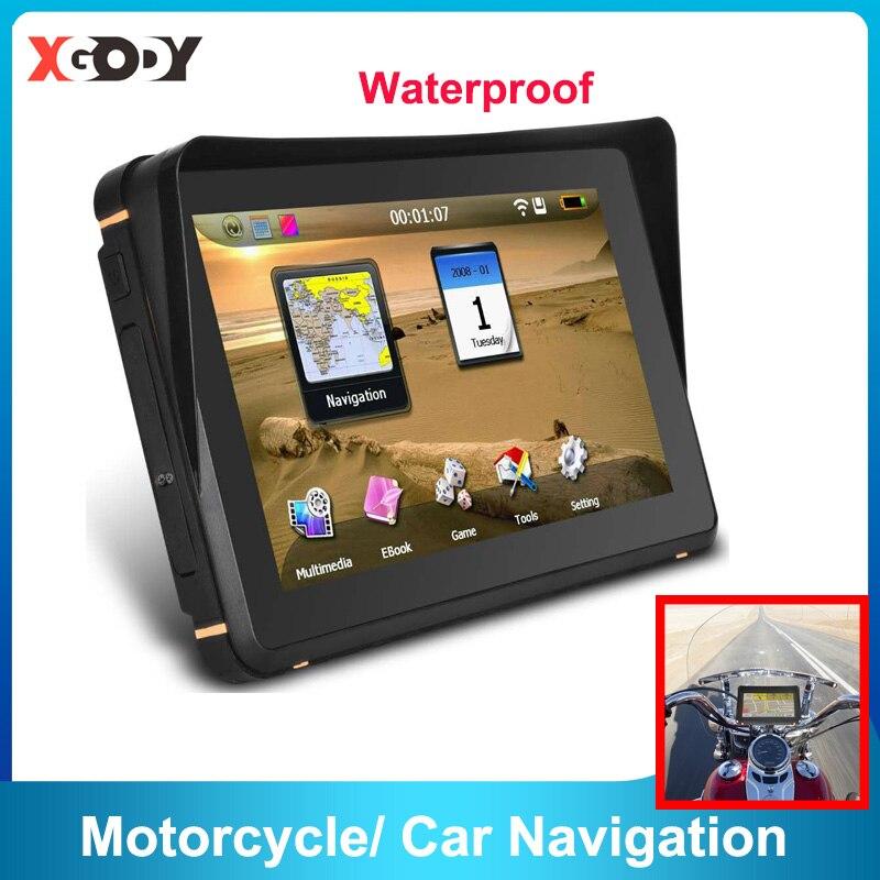GPS-навигатор XGODY мотоциклетный водонепроницаемый, 7 дюймов, 256 м + 8 Гб, 800 МГц