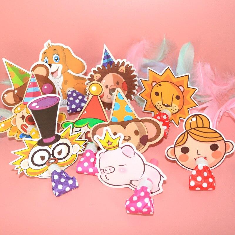 10PCS Cartoon Animals Blowout Whistle Plastic Noise Maker Kids Birthday Party Favors Decoration Children Toys Supplies