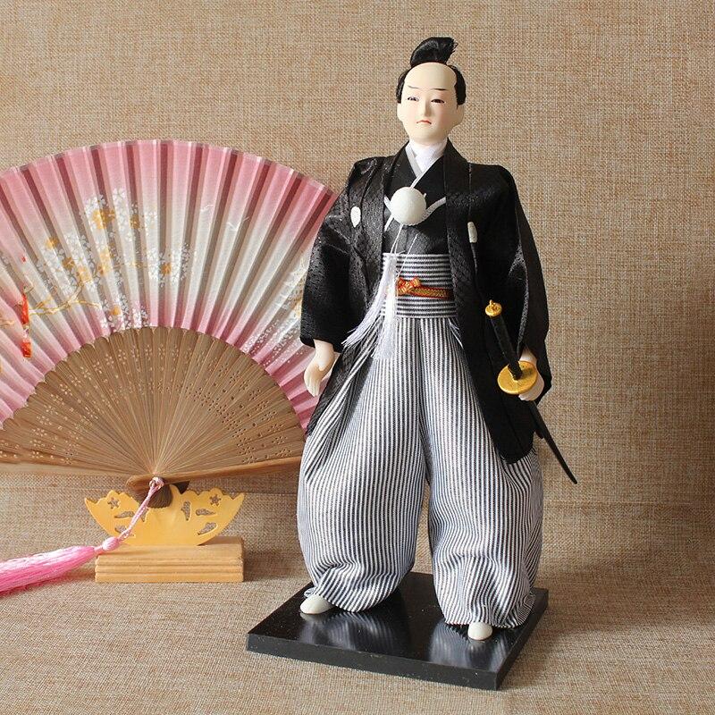 30cm Traditional Japanese Samurai Ninja Figurines Statues Japanese Dolls Ornaments Sushi Restaurant Home Decoration Gifts
