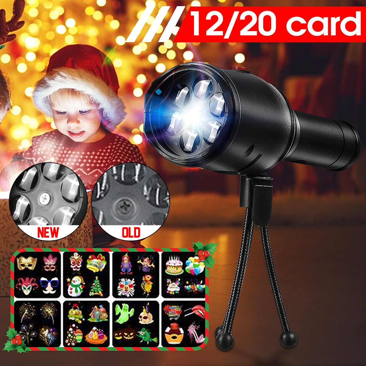 12/20 Cards Garden Landscape Projector Lamp Outdoor Park Christmas Decorative Holiday Projector Lighting Removable Spotlight