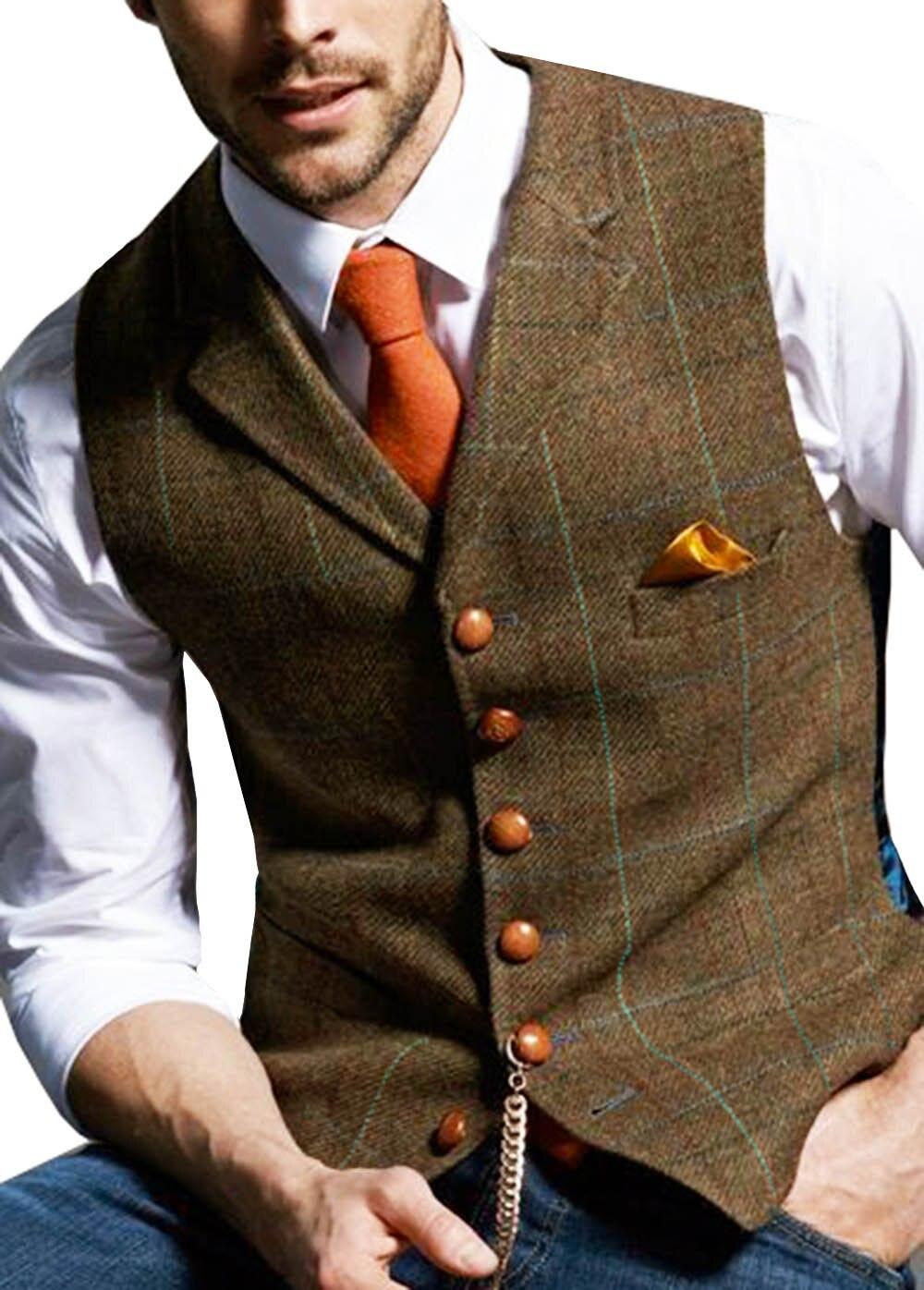 Mens-Suit-Vest-Notched-Plaid-Wool-Herringbone-Tweed-Waistcoat-Casual-Formal-Business-Groomman-For-Wedding-Green (5)