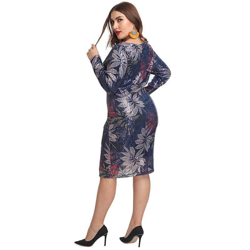VITIANA ผู้หญิงเซ็กซี่ปาร์ตี้ชุดสำหรับไขมันสตรี Sequined Tree Leaf MIDI ชุดเดรสหญิง Elegant Club Femme PLUS ขนาด 5XL vestidos