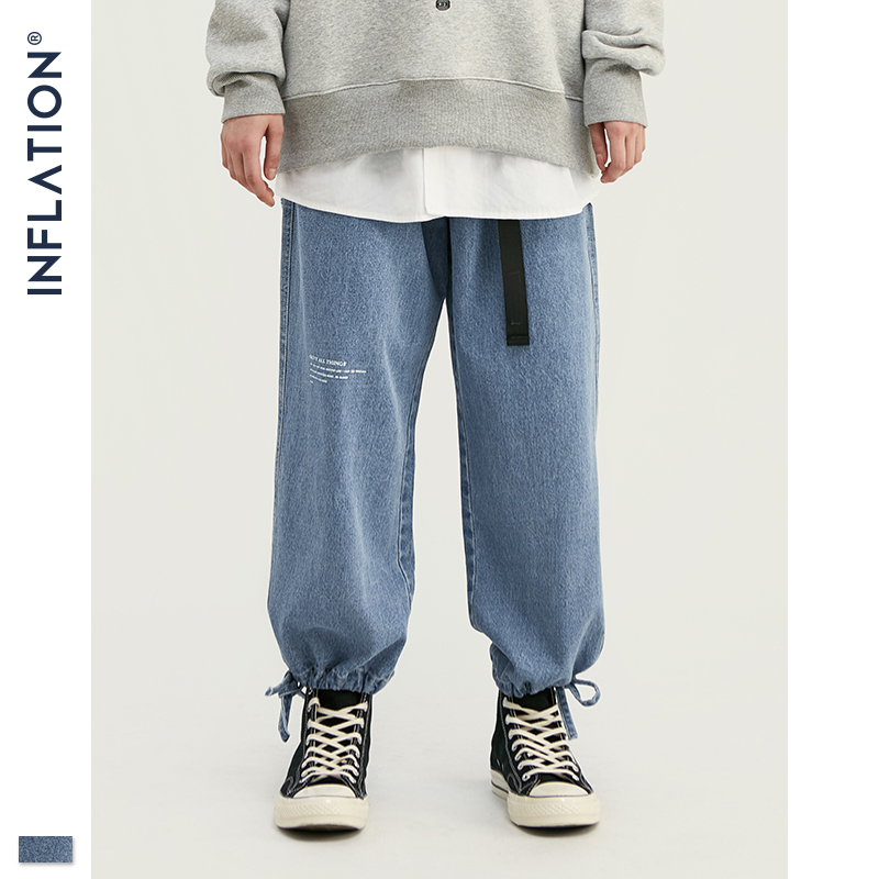 INFLATION Fashion Mens Ankle-tied Jeans In Blue Men Loose Fit Straight Ankle-tied Jeans Streetwear Mens 2019 AW Relaxed 93388W