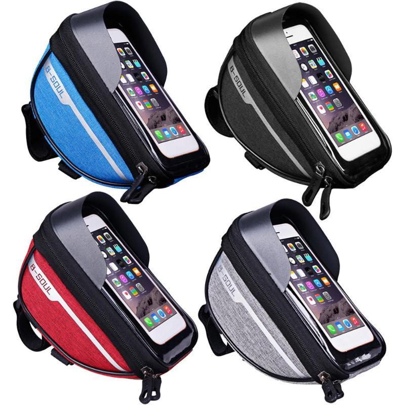 Mountain <font><b>Bike</b></font> Head Tube Handlebar Cell Mobile Phone Bag <font><b>Case</b></font> Waterproof Bag Touchscreen Cell Phone Stand Pannier image