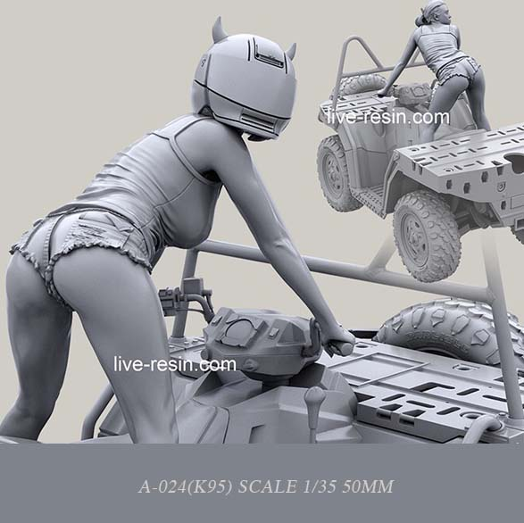 1:35 Resin Kits Topographic Vehicle Beauty Driving Resin Soldier  Self-assemble (50mm) ) A-024