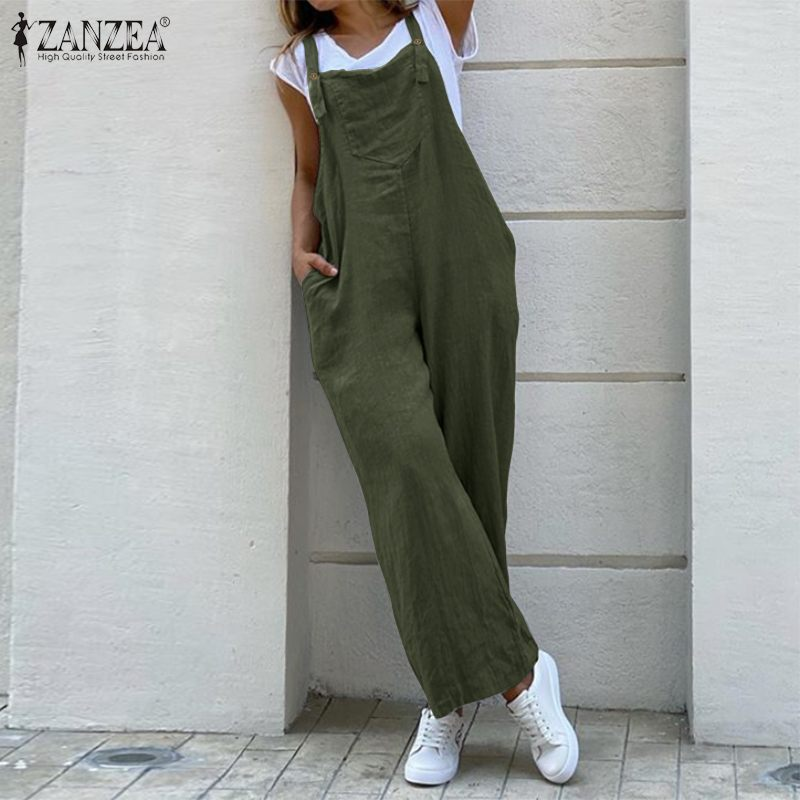 Kaftan Casual Cotton Overalls Women's Suspender Jumpsuits ZANZEA 2020 Dungarees Romeprs Female Backless Playsuits Plus Size Pant