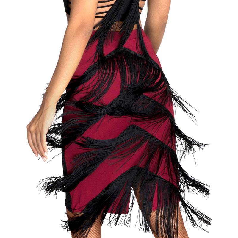 New Latin Dance Skirts Practice Clothes Fringed Dress Tassel Skirt Ballroom Dance Dress Women Adult Competition Dresses SL2163