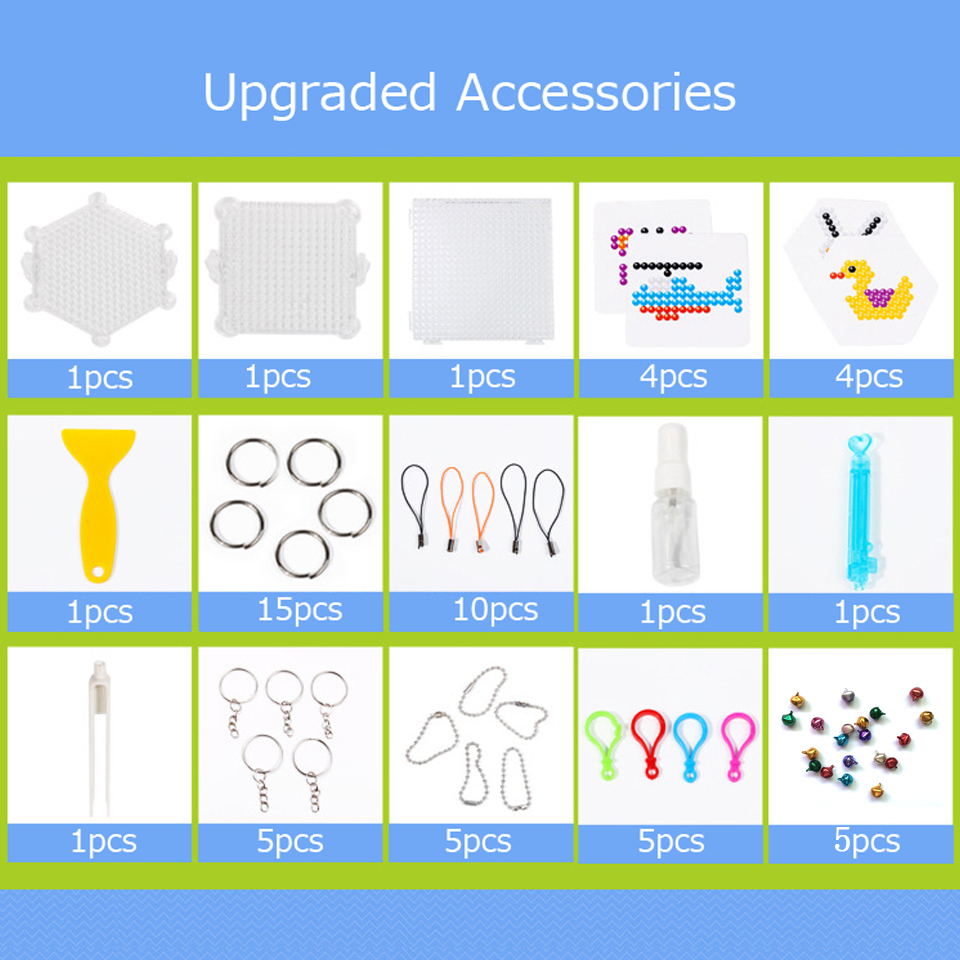 DIY Colorful Water Spray Beads Accessories Package Pegboard Keychain Pendant Beads Birthday Gifts For Kids 25pcs/ 56pcs