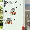 Настенная виниловая наклейка на стену с цветком птичьей клетки для гостиной, детской комнаты, Декор для дома