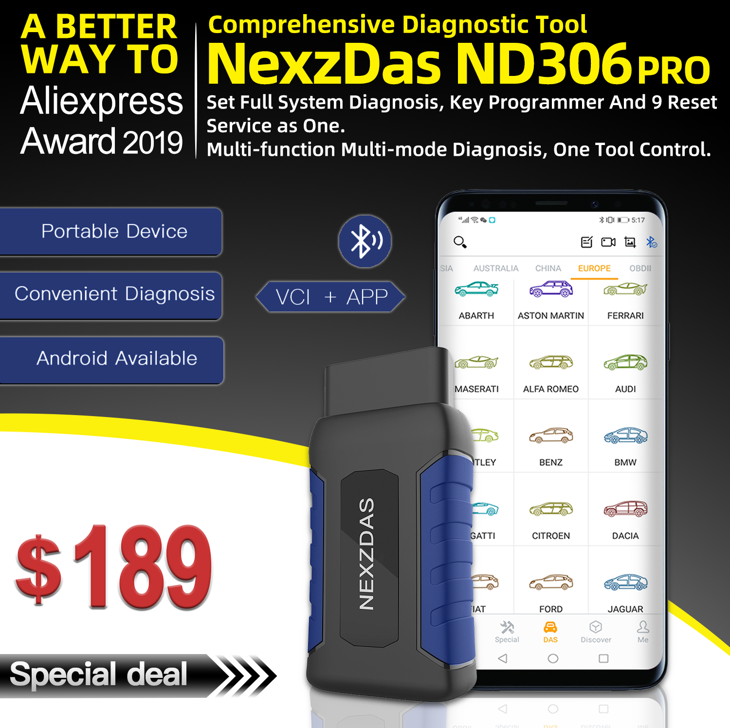 HUMZOR NexzDAS ND306 Full System OBD2 Scanner Auto Diagnostic Tool Key Programmer Diagnosis For Passenger Car PK Easydiag AP200